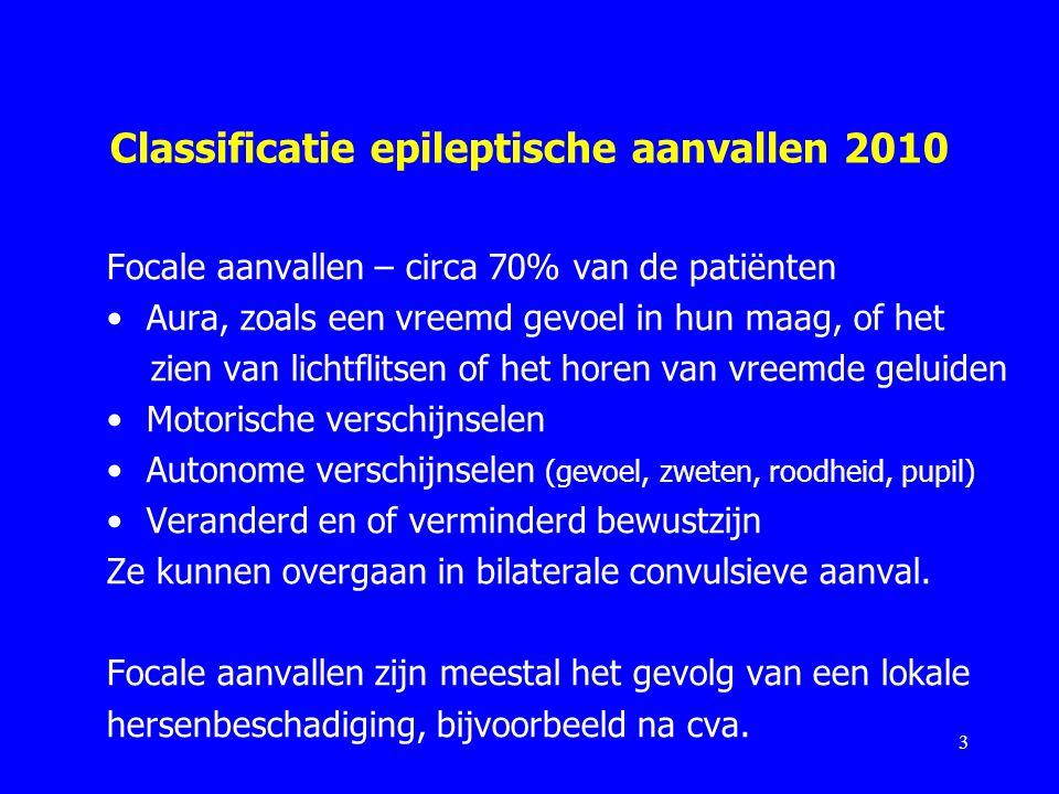 Classificatie epileptische aanvallen 2010 Focale aanvallen – circa 70% van de patiënten Aura, zoals een vreemd gevoel in hun maag, of het zien van lic