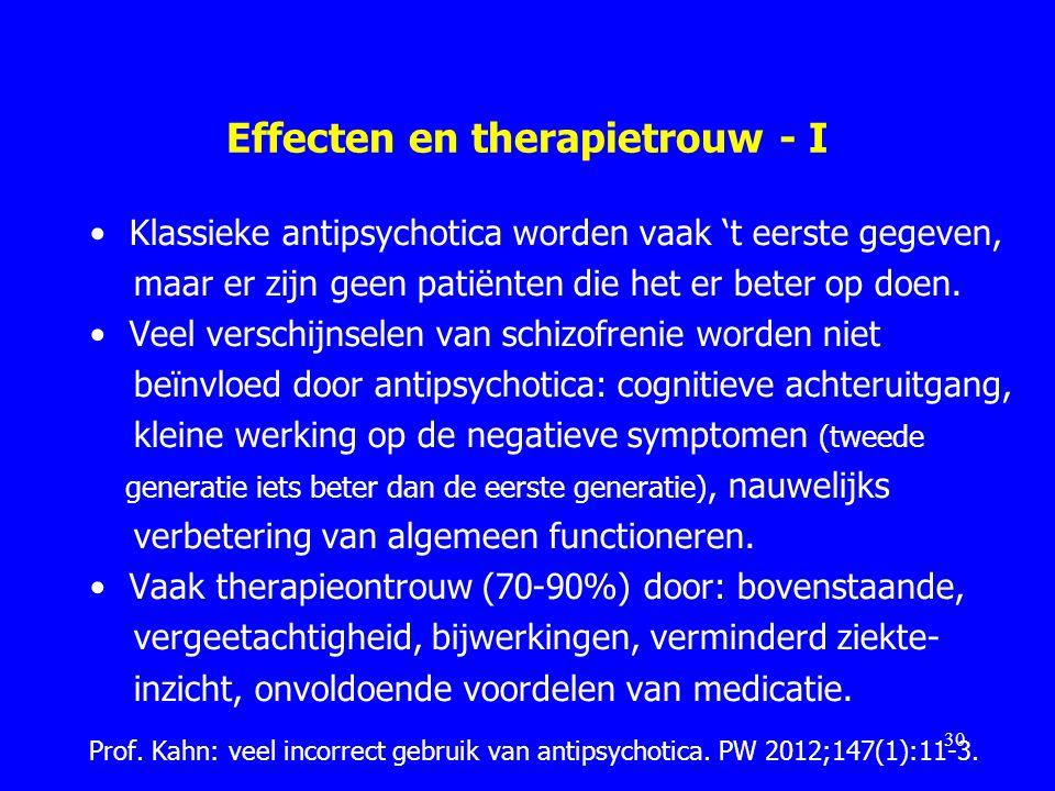 Effecten en therapietrouw - I Klassieke antipsychotica worden vaak 't eerste gegeven, maar er zijn geen patiënten die het er beter op doen. Veel versc