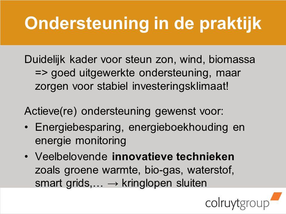 Ondersteuning in de praktijk Duidelijk kader voor steun zon, wind, biomassa => goed uitgewerkte ondersteuning, maar zorgen voor stabiel investeringskl