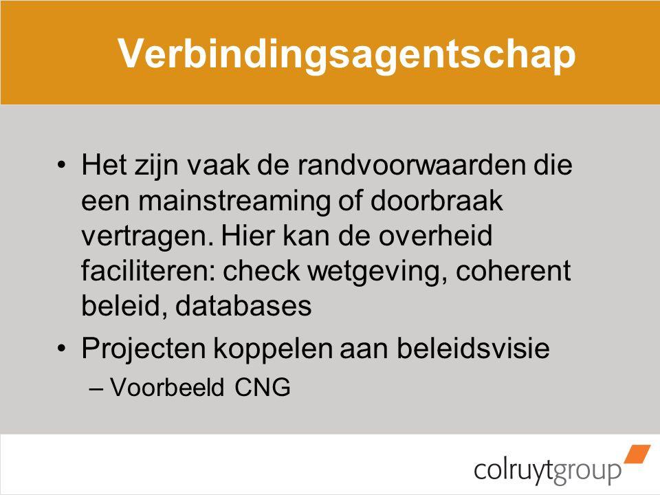 Verbindingsagentschap Het zijn vaak de randvoorwaarden die een mainstreaming of doorbraak vertragen.