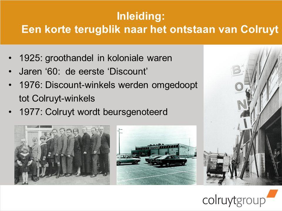 1925: groothandel in koloniale waren Jaren '60: de eerste 'Discount' 1976: Discount-winkels werden omgedoopt tot Colruyt-winkels 1977: Colruyt wordt beursgenoteerd Inleiding: Een korte terugblik naar het ontstaan van Colruyt