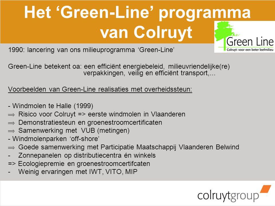 Het 'Green-Line' programma van Colruyt 1990: lancering van ons milieuprogramma 'Green-Line' Green-Line betekent oa: een efficiënt energiebeleid, milieuvriendelijke(re) verpakkingen, veilig en efficiënt transport,...
