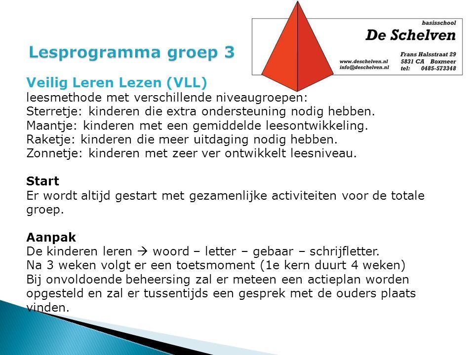 Veilig Leren Lezen (VLL) leesmethode met verschillende niveaugroepen: Sterretje: kinderen die extra ondersteuning nodig hebben. Maantje: kinderen met