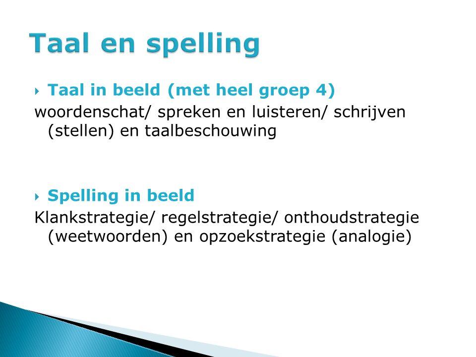  Taal in beeld (met heel groep 4) woordenschat/ spreken en luisteren/ schrijven (stellen) en taalbeschouwing  Spelling in beeld Klankstrategie/ rege