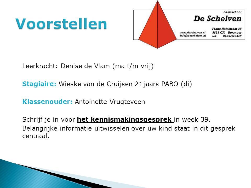Leerkracht: Denise de Vlam (ma t/m vrij) Stagiaire: Wieske van de Cruijsen 2 e jaars PABO (di) Klassenouder: Antoinette Vrugteveen Schrijf je in voor