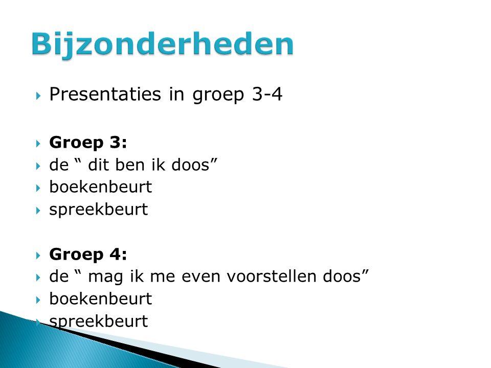 """ Presentaties in groep 3-4  Groep 3:  de """" dit ben ik doos""""  boekenbeurt  spreekbeurt  Groep 4:  de """" mag ik me even voorstellen doos""""  boeken"""