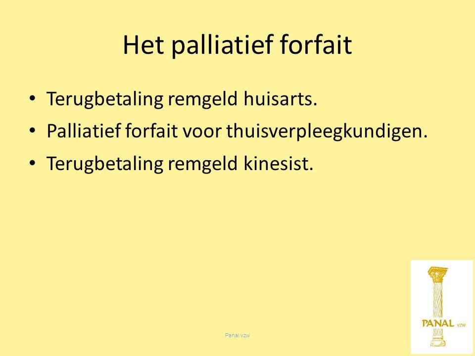 Panal vzw Het palliatief forfait Terugbetaling remgeld huisarts.
