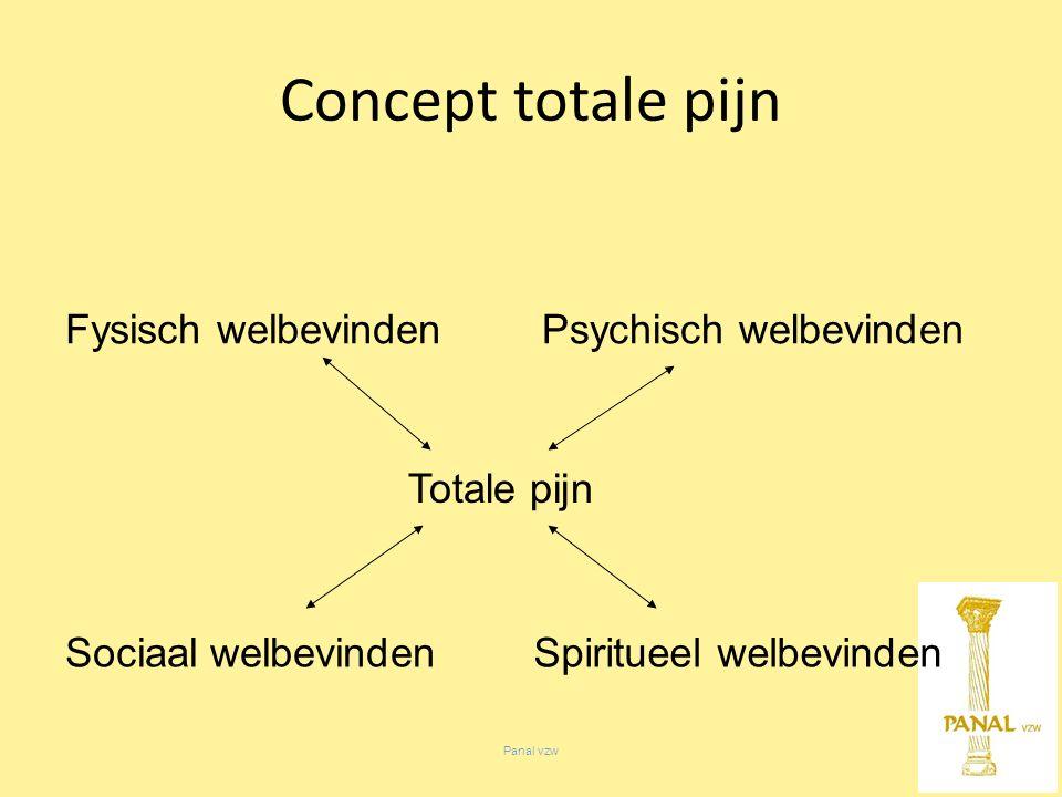 Fysisch welbevinden Totale pijn Sociaal welbevinden Psychisch welbevinden Spiritueel welbevinden Concept totale pijn