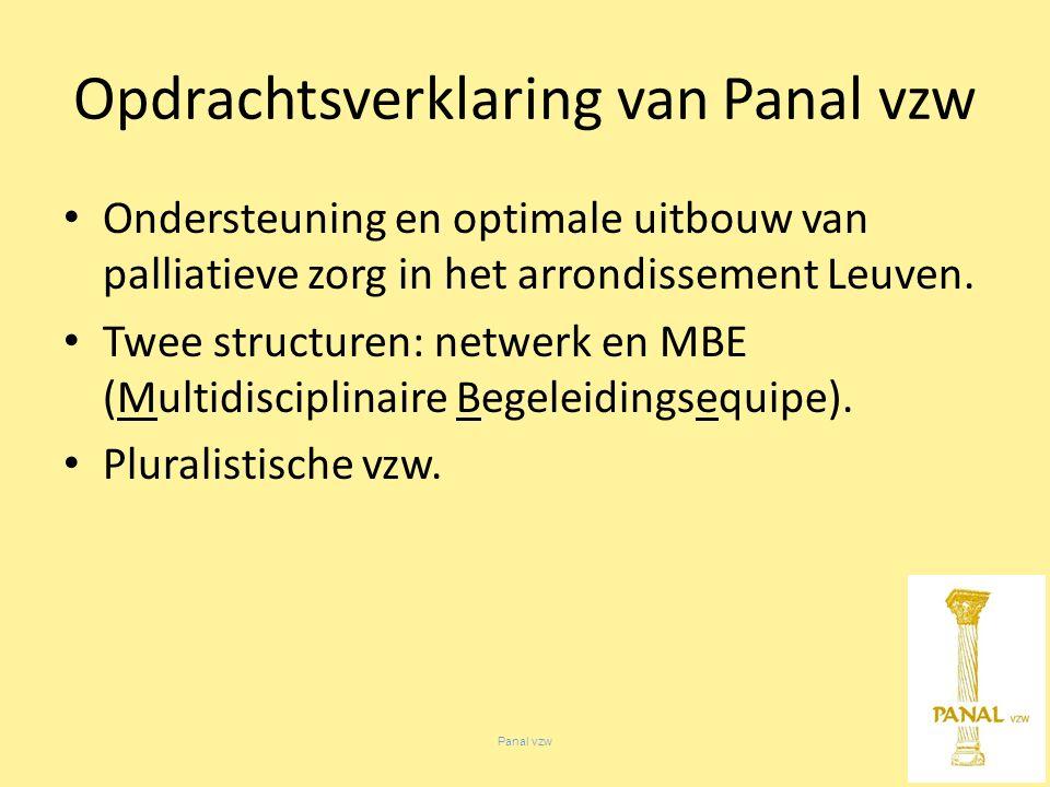 Panal vzw Opdrachtsverklaring van Panal vzw Ondersteuning en optimale uitbouw van palliatieve zorg in het arrondissement Leuven.