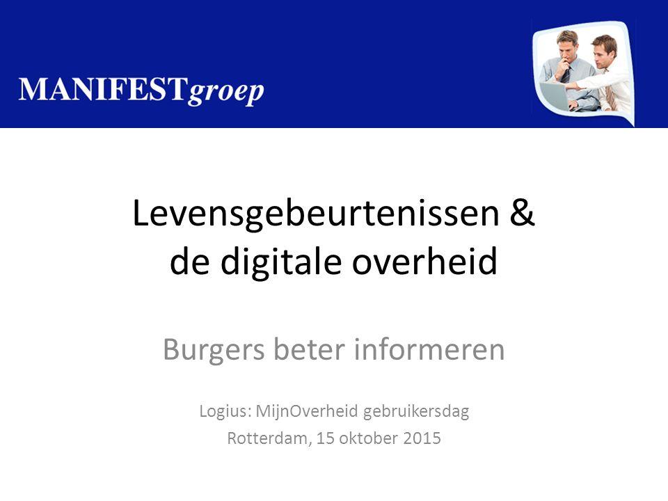 Levensgebeurtenissen & de digitale overheid Burgers beter informeren Logius: MijnOverheid gebruikersdag Rotterdam, 15 oktober 2015