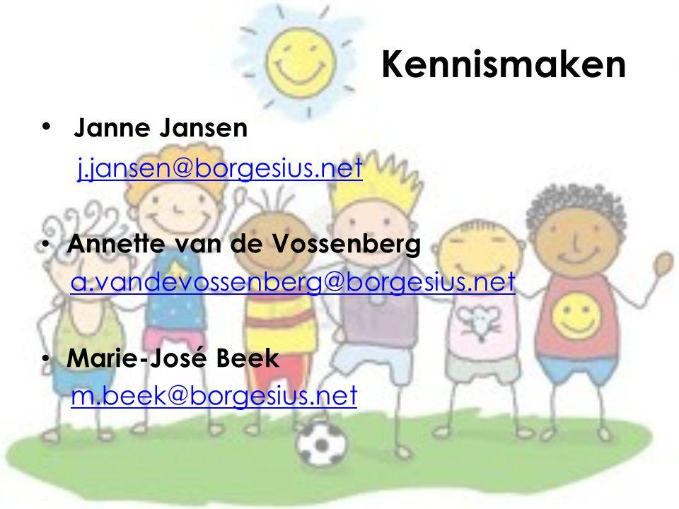 Kennismaken Janne Jansen j.jansen@borgesius.net Annette van de Vossenberg a.vandevossenberg@borgesius.net Marie-José Beek m.beek@borgesius.net