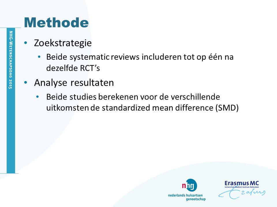 Methode Zoekstrategie Beide systematic reviews includeren tot op één na dezelfde RCT's Analyse resultaten Beide studies berekenen voor de verschillend