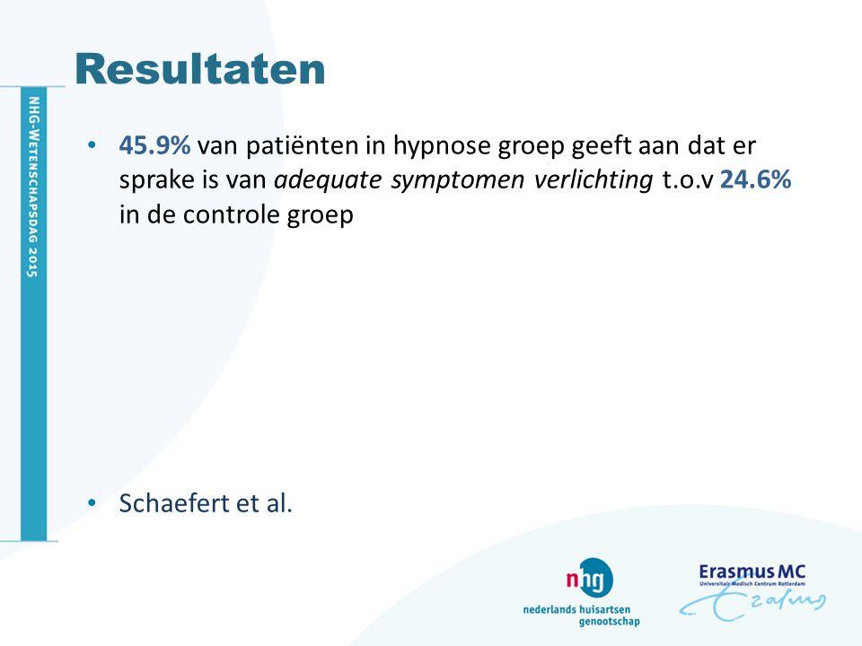 Resultaten 45.9% van patiënten in hypnose groep geeft aan dat er sprake is van adequate symptomen verlichting t.o.v 24.6% in de controle groep Schaefe
