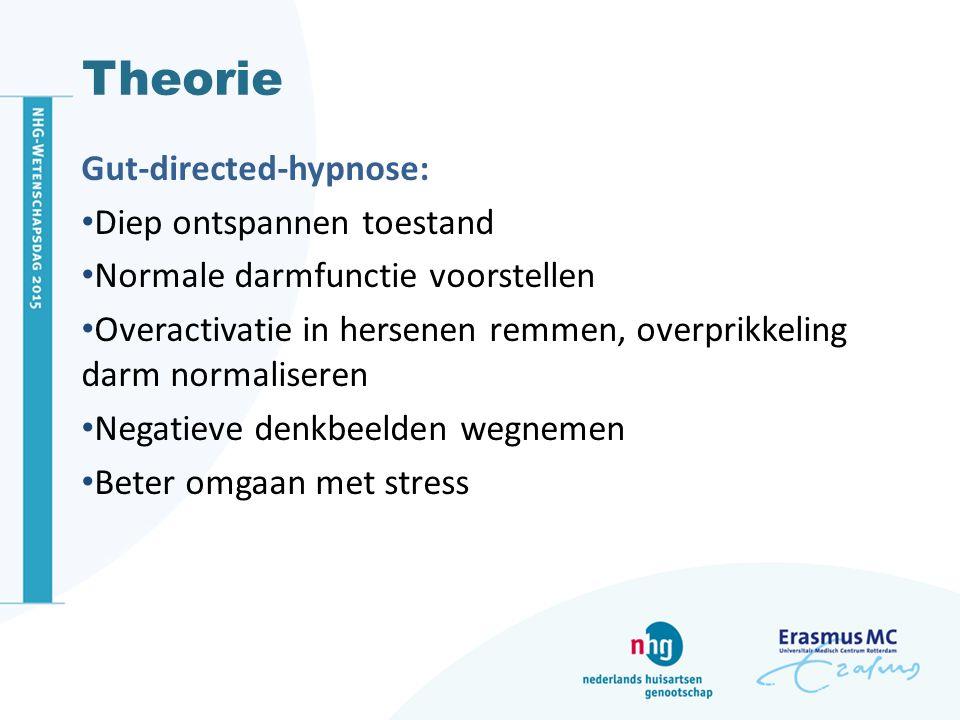 Gut-directed-hypnose: Diep ontspannen toestand Normale darmfunctie voorstellen Overactivatie in hersenen remmen, overprikkeling darm normaliseren Nega