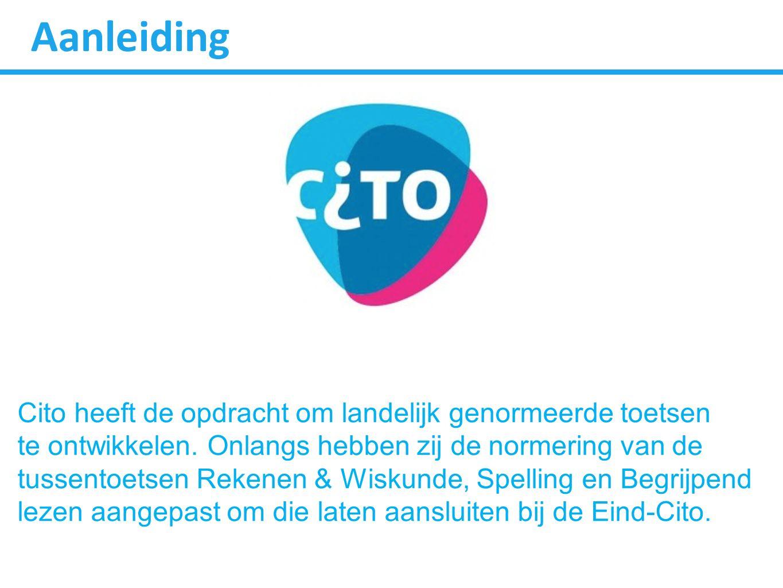 Aanleiding Cito heeft de opdracht om landelijk genormeerde toetsen te ontwikkelen. Onlangs hebben zij de normering van de tussentoetsen Rekenen & Wisk
