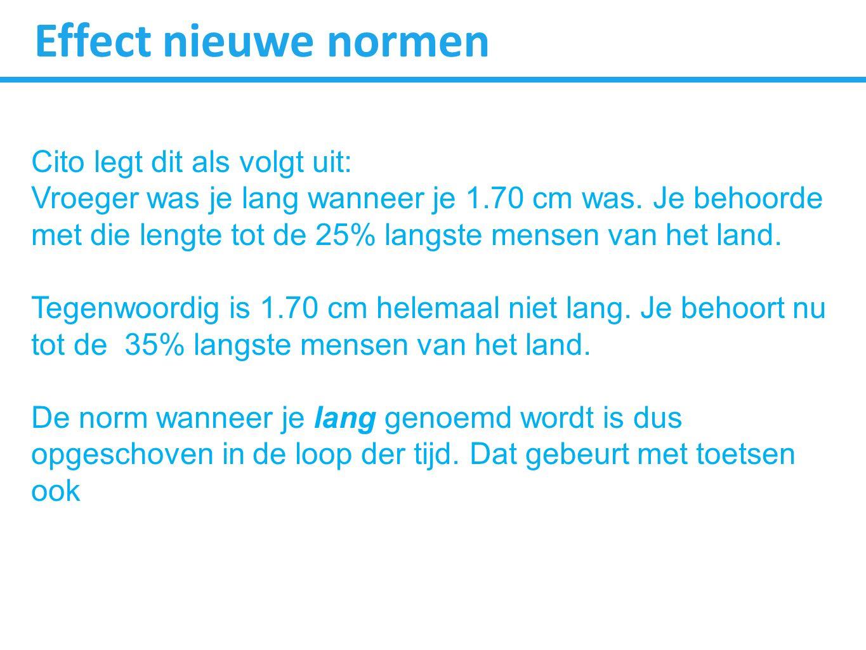 Effect nieuwe normen Cito legt dit als volgt uit: Vroeger was je lang wanneer je 1.70 cm was. Je behoorde met die lengte tot de 25% langste mensen van