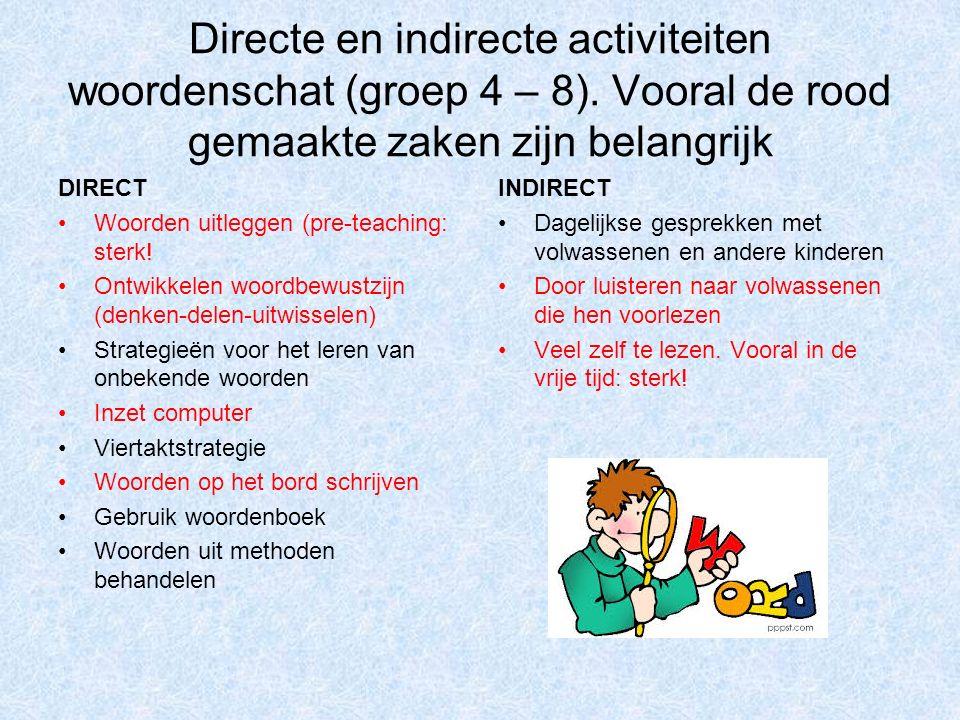 Directe en indirecte activiteiten woordenschat (groep 4 – 8).