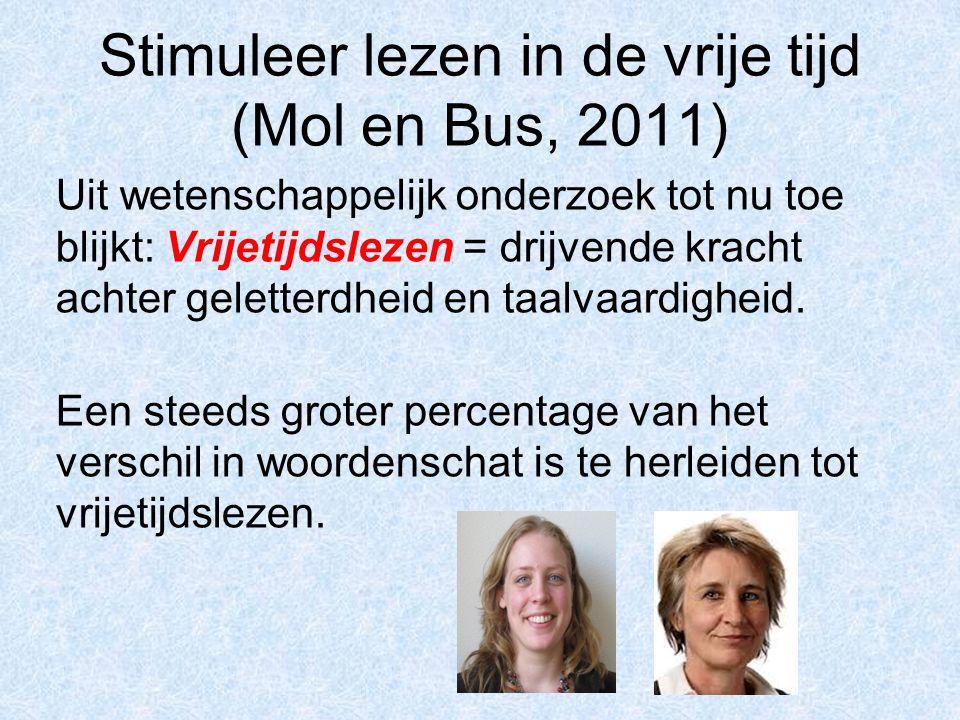 Stimuleer lezen in de vrije tijd (Mol en Bus, 2011) Uit wetenschappelijk onderzoek tot nu toe blijkt: Vrijetijdslezen = drijvende kracht achter gelett