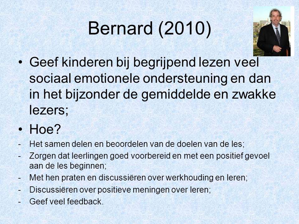 Bernard (2010) Geef kinderen bij begrijpend lezen veel sociaal emotionele ondersteuning en dan in het bijzonder de gemiddelde en zwakke lezers; Hoe? -