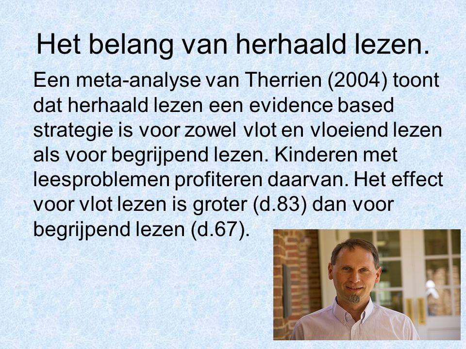 Het belang van herhaald lezen. Een meta-analyse van Therrien (2004) toont dat herhaald lezen een evidence based strategie is voor zowel vlot en vloeie