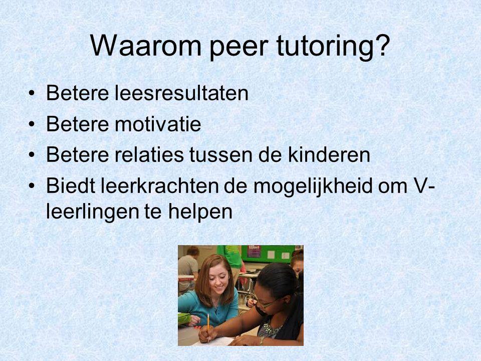 Waarom peer tutoring? Betere leesresultaten Betere motivatie Betere relaties tussen de kinderen Biedt leerkrachten de mogelijkheid om V- leerlingen te