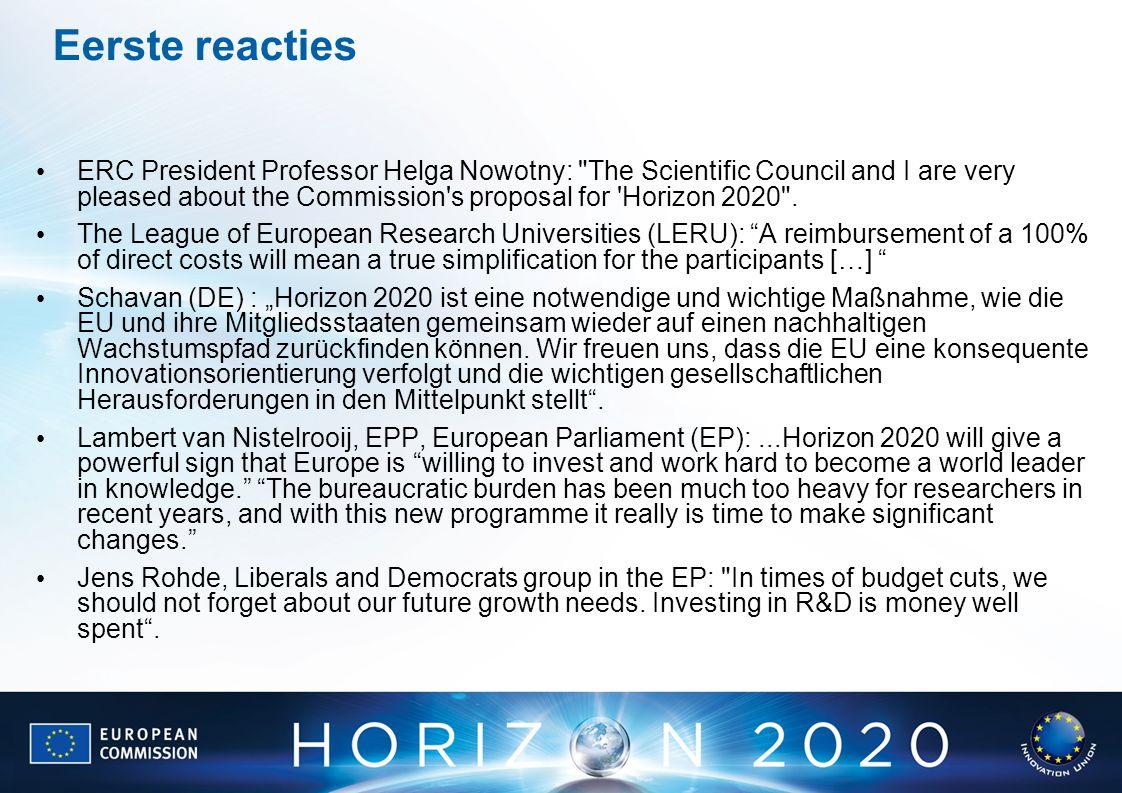 Eerste reacties ERC President Professor Helga Nowotny: