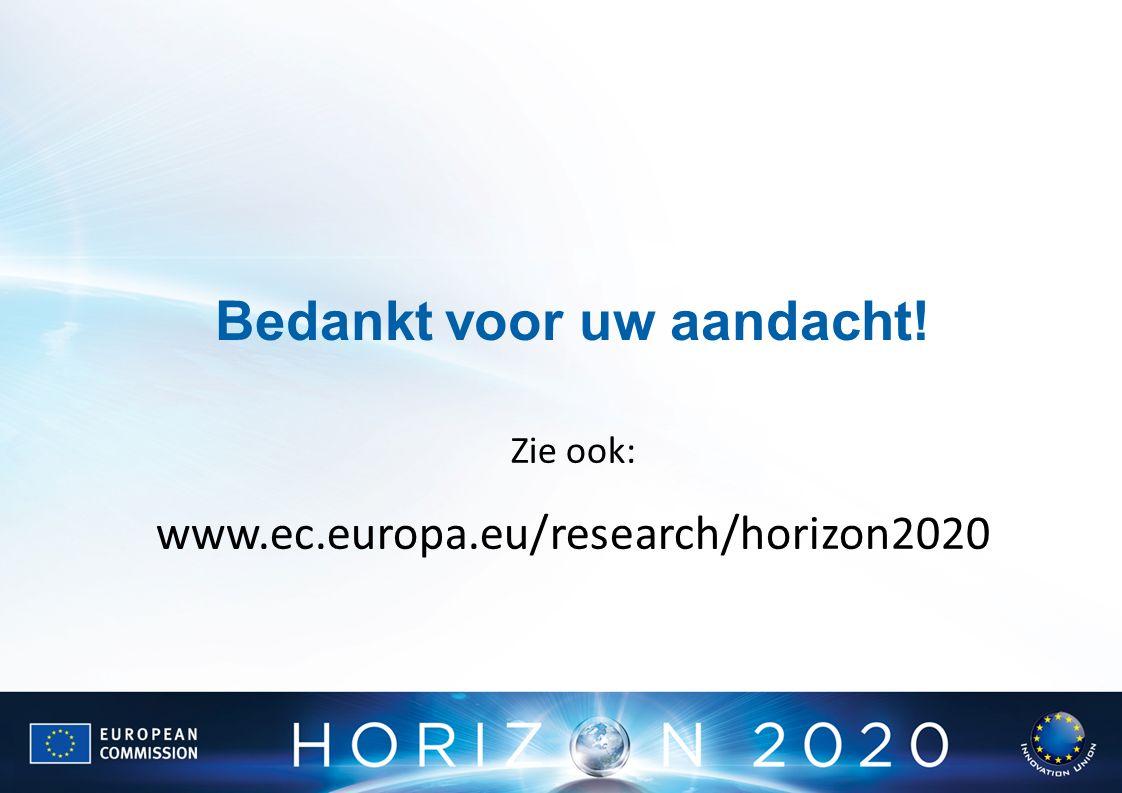 Bedankt voor uw aandacht! Zie ook: www.ec.europa.eu/research/horizon2020