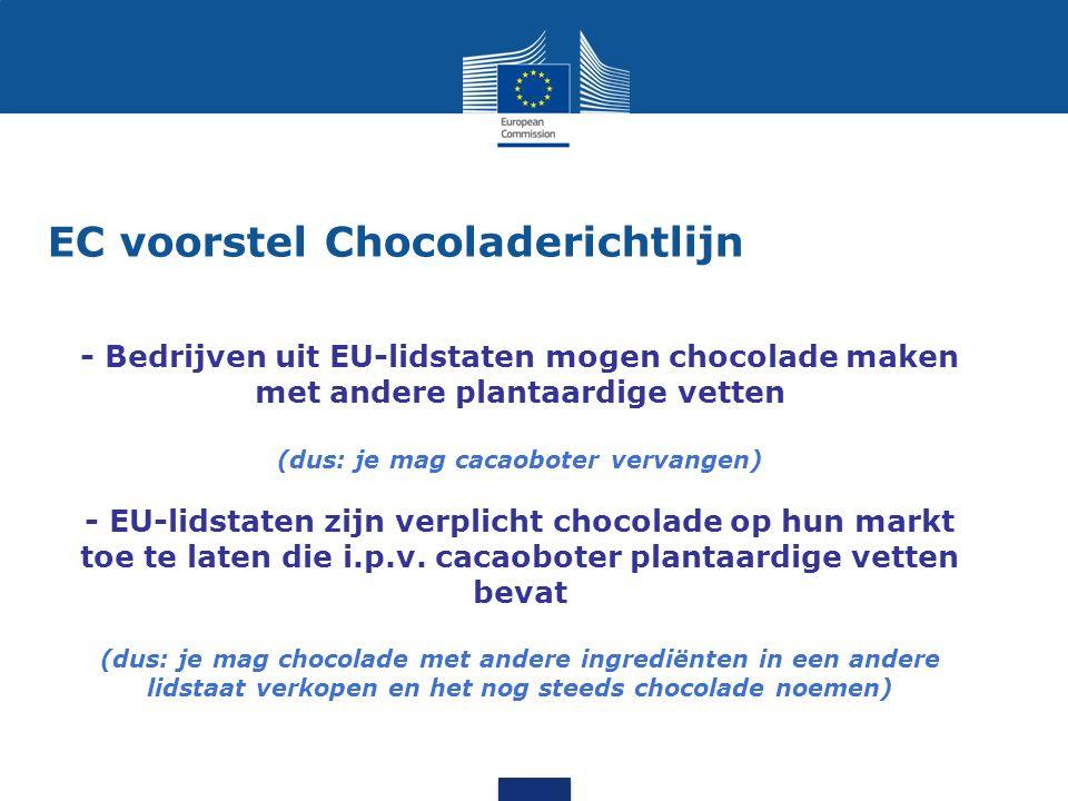 - Bedrijven uit EU-lidstaten mogen chocolade maken met andere plantaardige vetten (dus: je mag cacaoboter vervangen) - EU-lidstaten zijn verplicht chocolade op hun markt toe te laten die i.p.v.