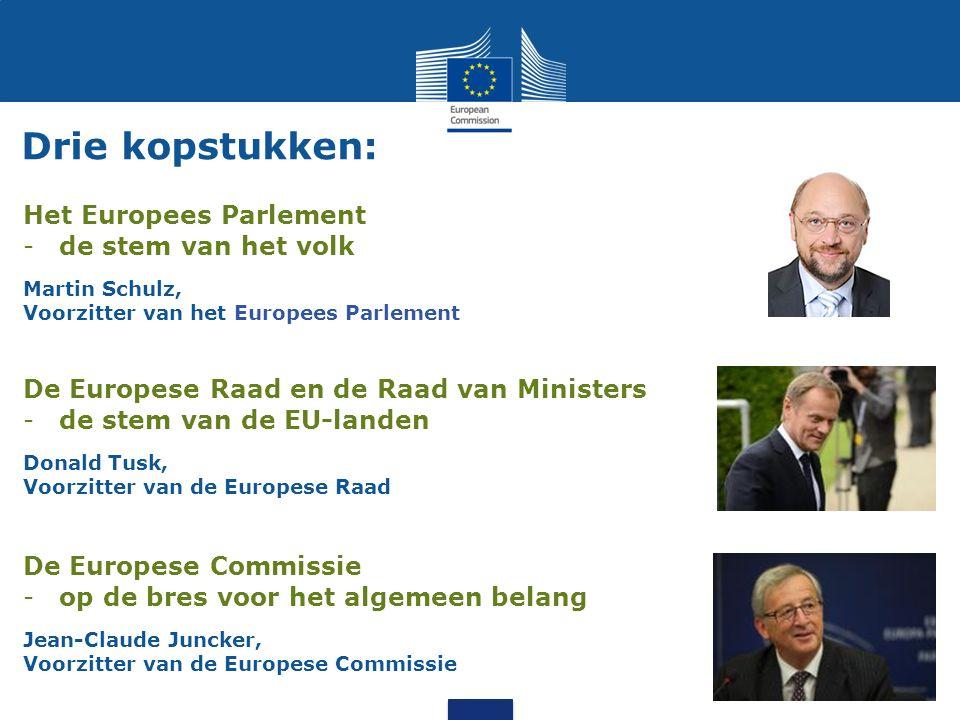 Drie kopstukken: Het Europees Parlement -de stem van het volk Martin Schulz, Voorzitter van het Europees Parlement De Europese Raad en de Raad van Min