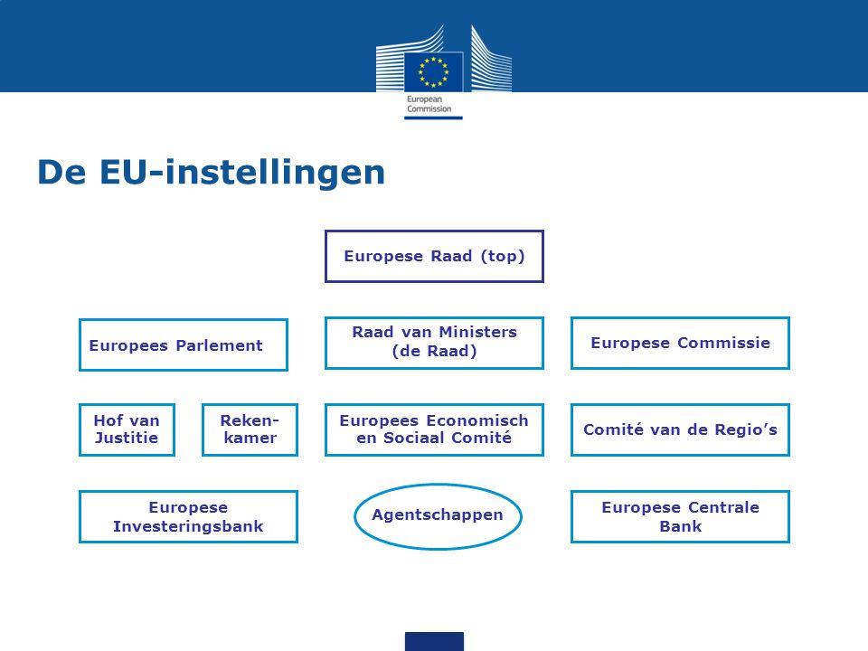 Europees Parlement Hof van Justitie Reken- kamer Europees Economisch en Sociaal Comité Comité van de Regio's Raad van Ministers (de Raad) Europese Com