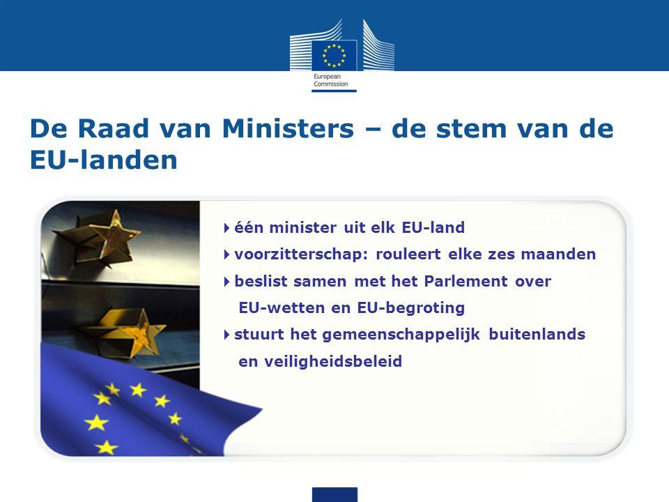 De Europese Commissie – op de bres voor het algemeen belang 28 onafhankelijke leden, één uit elk EU-land  stelt nieuwe wetgeving voor  uitvoerend orgaan  hoedster van de verdragen (ziet toe op de uitvoering)  vertegenwoordigt de EU in de rest van de wereld