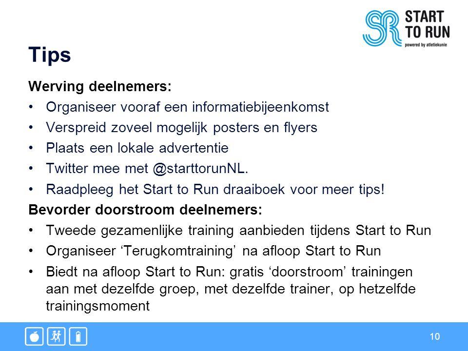 10 Tips Werving deelnemers: Organiseer vooraf een informatiebijeenkomst Verspreid zoveel mogelijk posters en flyers Plaats een lokale advertentie Twitter mee met @starttorunNL.