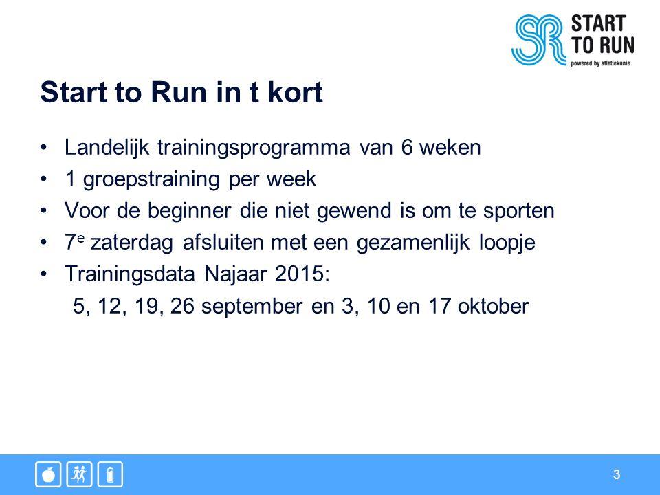 Start to Run in t kort Landelijk trainingsprogramma van 6 weken 1 groepstraining per week Voor de beginner die niet gewend is om te sporten 7 e zaterdag afsluiten met een gezamenlijk loopje Trainingsdata Najaar 2015: 5, 12, 19, 26 september en 3, 10 en 17 oktober 3