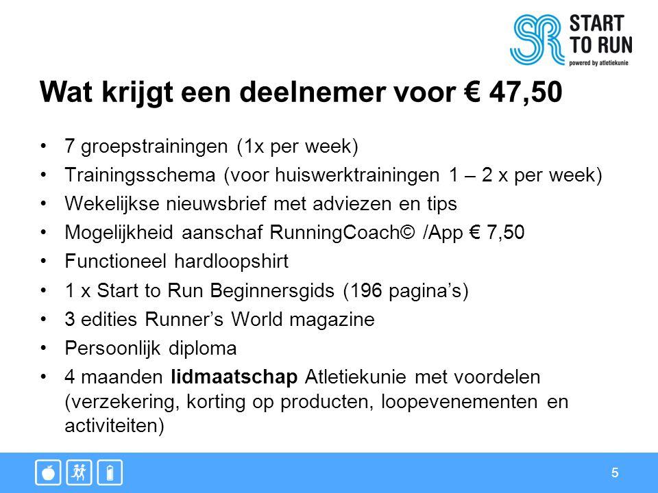 5 Wat krijgt een deelnemer voor € 47,50 7 groepstrainingen (1x per week) Trainingsschema (voor huiswerktrainingen 1 – 2 x per week) Wekelijkse nieuwsb