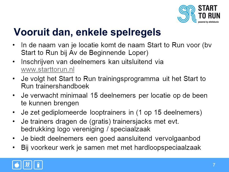 7 Vooruit dan, enkele spelregels In de naam van je locatie komt de naam Start to Run voor (bv Start to Run bij Av de Beginnende Loper) Inschrijven van