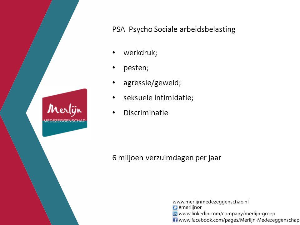 PSA Psycho Sociale arbeidsbelasting werkdruk; pesten; agressie/geweld; seksuele intimidatie; Discriminatie 6 miljoen verzuimdagen per jaar