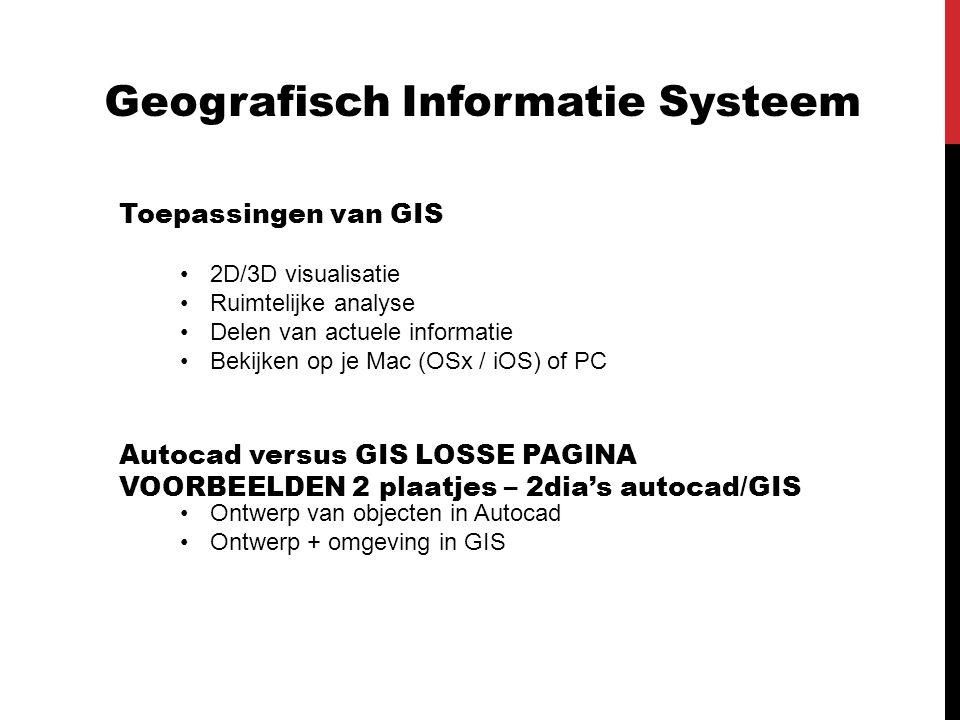 Geografisch Informatie Systeem Toepassingen van GIS 2D/3D visualisatie Ruimtelijke analyse Delen van actuele informatie Bekijken op je Mac (OSx / iOS)