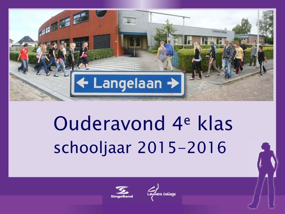 Ouderavond 4 e klas schooljaar 2015-2016