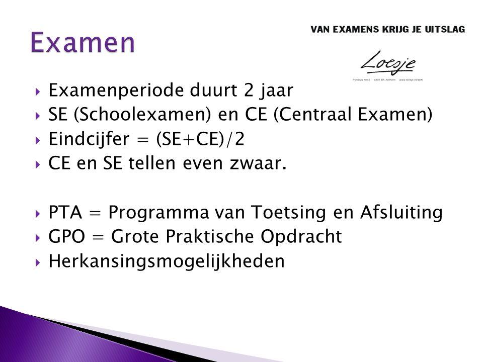  Examenperiode duurt 2 jaar  SE (Schoolexamen) en CE (Centraal Examen)  Eindcijfer = (SE+CE)/2  CE en SE tellen even zwaar.