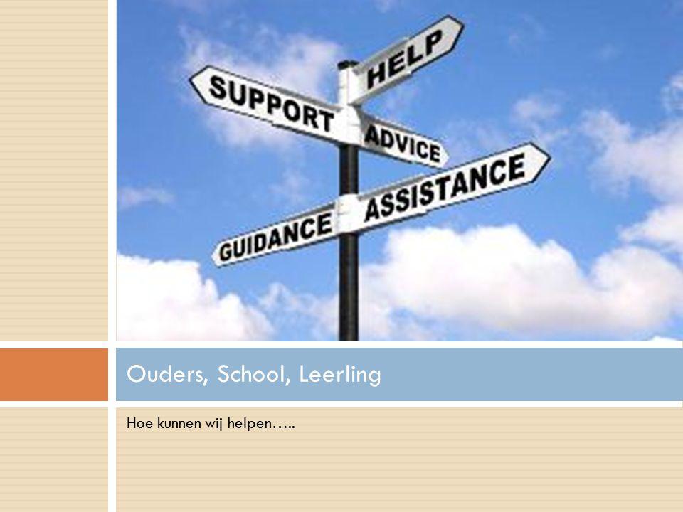 Hoe kunnen wij helpen….. Ouders, School, Leerling