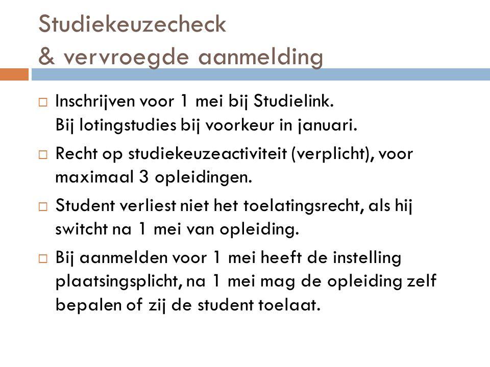 Studiekeuzecheck & vervroegde aanmelding  Inschrijven voor 1 mei bij Studielink.