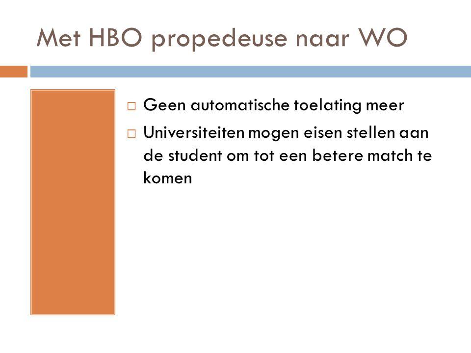 Met HBO propedeuse naar WO  Geen automatische toelating meer  Universiteiten mogen eisen stellen aan de student om tot een betere match te komen