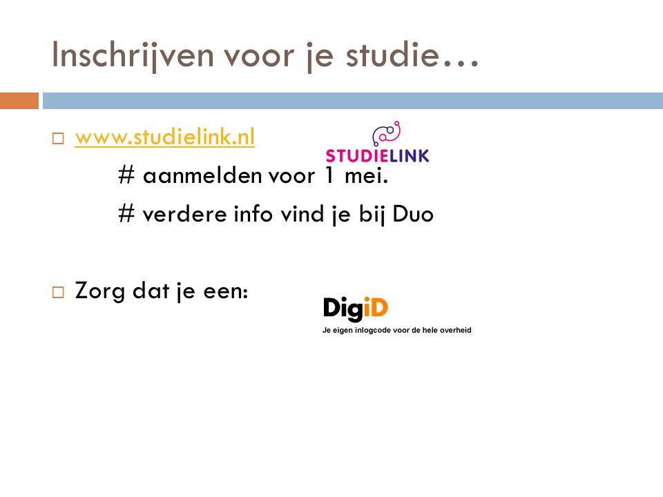 Inschrijven voor je studie…  www.studielink.nl www.studielink.nl # aanmelden voor 1 mei.