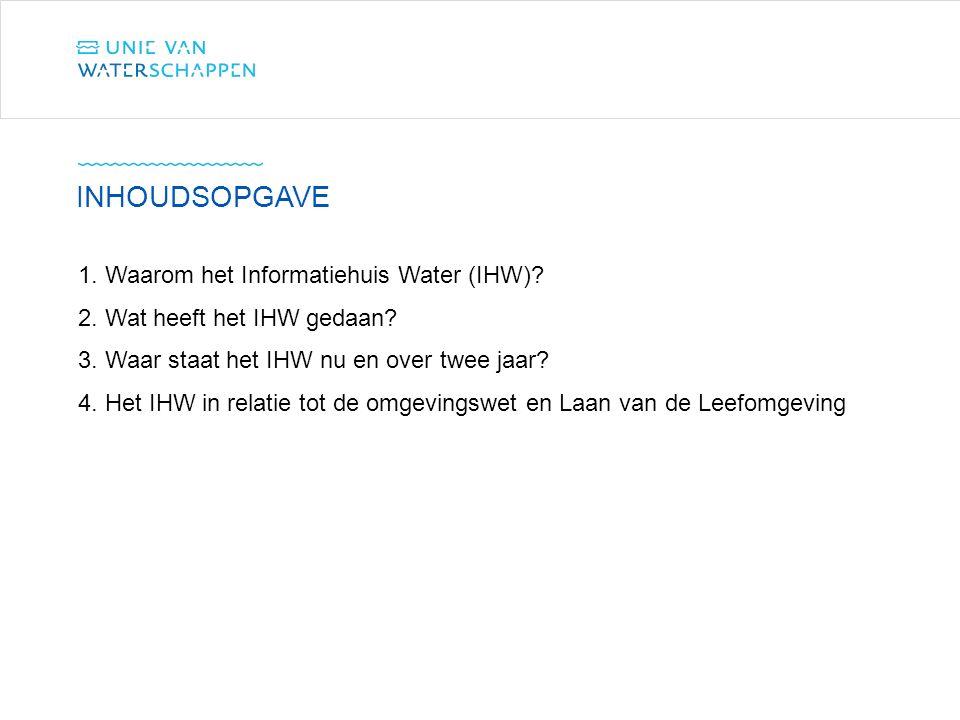 1. Waarom het Informatiehuis Water (IHW)? 2. Wat heeft het IHW gedaan? 3. Waar staat het IHW nu en over twee jaar? 4. Het IHW in relatie tot de omgevi