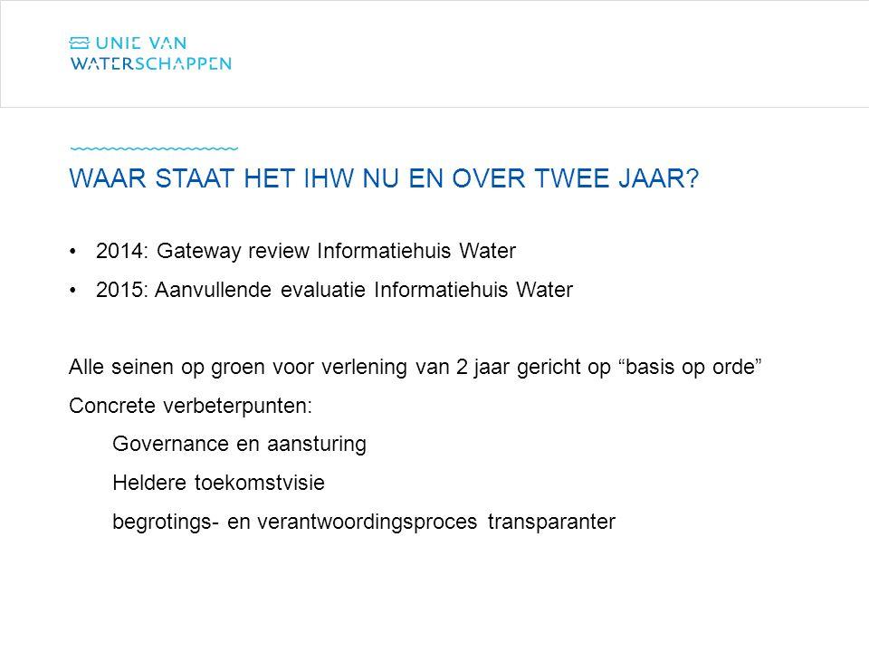 """2014: Gateway review Informatiehuis Water 2015: Aanvullende evaluatie Informatiehuis Water Alle seinen op groen voor verlening van 2 jaar gericht op """""""