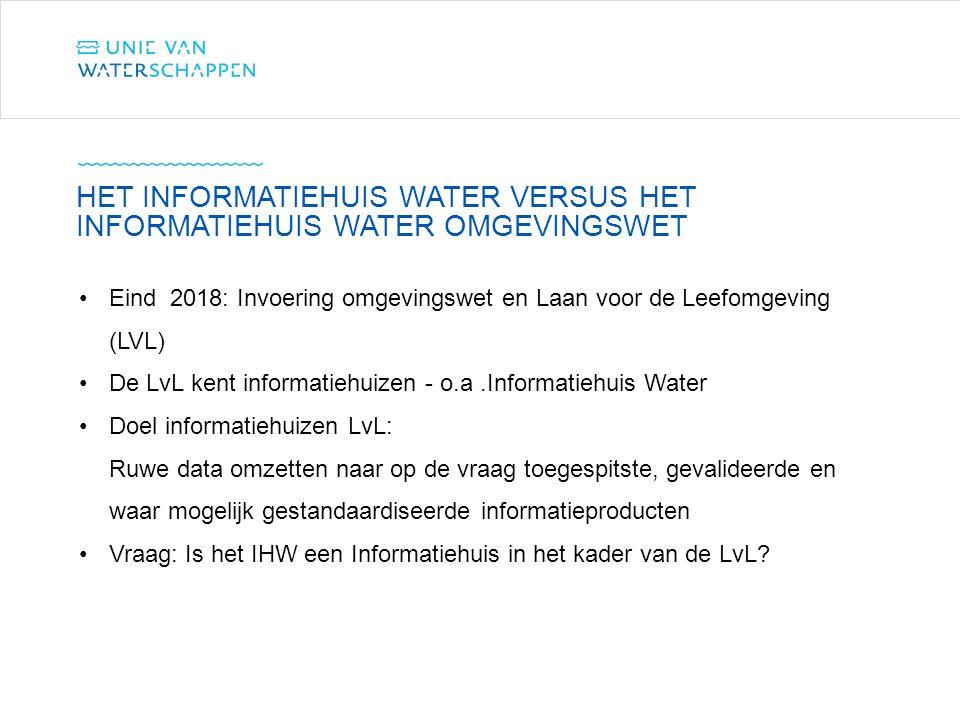Eind 2018: Invoering omgevingswet en Laan voor de Leefomgeving (LVL) De LvL kent informatiehuizen - o.a.Informatiehuis Water Doel informatiehuizen LvL