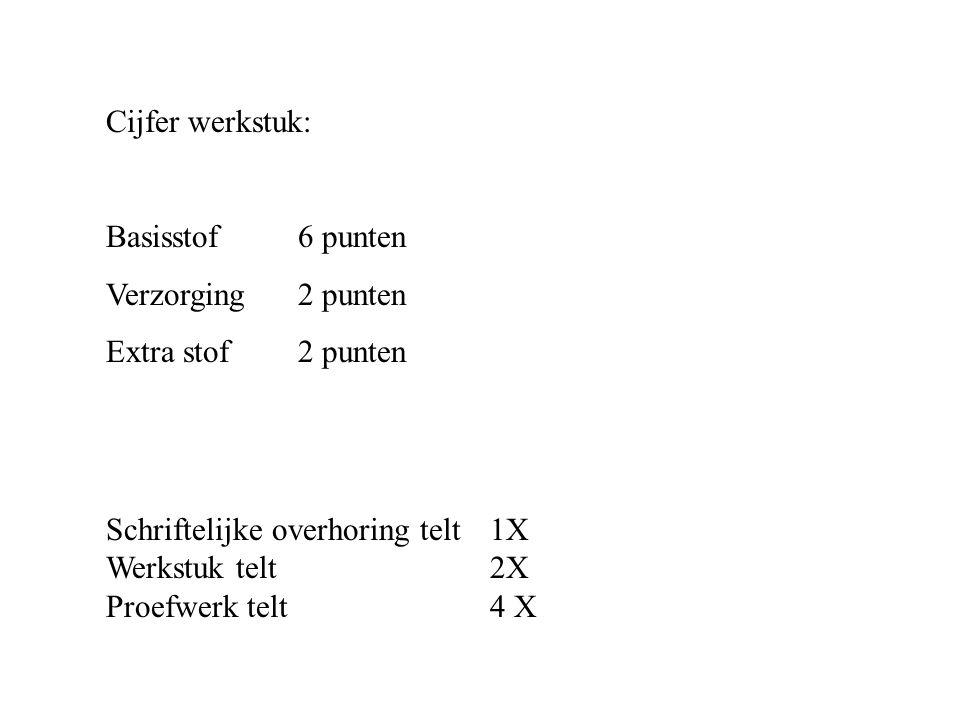 Cijfer werkstuk: Basisstof 6 punten Verzorging 2 punten Extra stof 2 punten Schriftelijke overhoring telt1X Werkstuk telt 2X Proefwerk telt 4 X