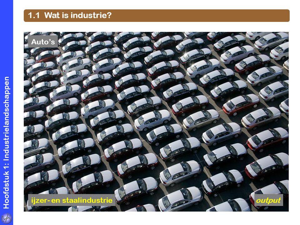 Hoofdstuk 1: Industrielandschappen 1.1 Wat is industrie? Auto's ijzer- en staalindustrieoutput