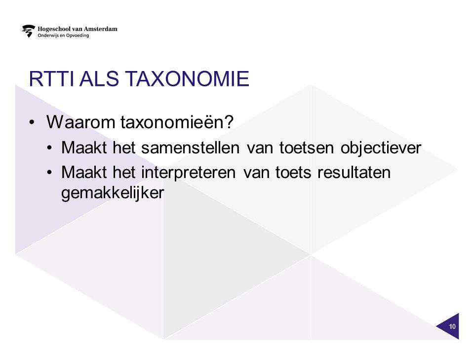 RTTI ALS TAXONOMIE Waarom taxonomieën.