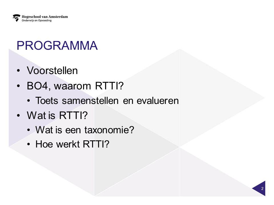 PROGRAMMA Voorstellen BO4, waarom RTTI. Toets samenstellen en evalueren Wat is RTTI.